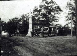 57-14768-Confederate-Monument-and-Trolley-Car